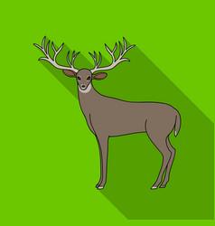 Deer with big hornsanimals single icon in flat vector