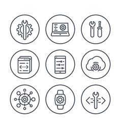 Development engineering configuration line icons vector