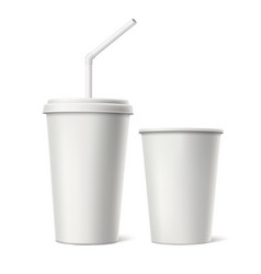 disposable cup with lid straw mockup vector image