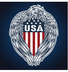 Eagle wing annimal blue flag usa america vector