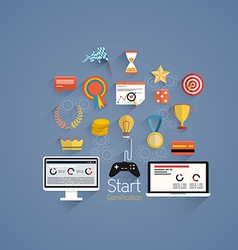 Flat icons gamification vector