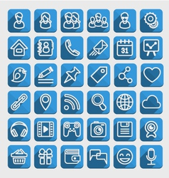 Flat Icons Social Media Blue Set vector image