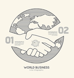 Flat linear Infographic World Business Handshake vector image
