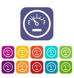 Fuel sensor icons set vector