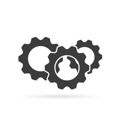 gear logo grey color with shadow on white vector image