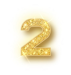 Gold glitter alphabet numbers 2 with shadow vector