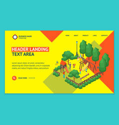 green city park concept landing web page template vector image