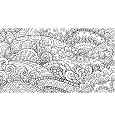 hand drawn line art hill and abstract plant vector image
