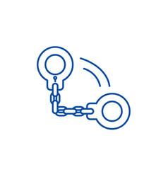 handcuffs line icon concept handcuffs flat vector image