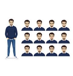 Handsome bearded man expression set vector