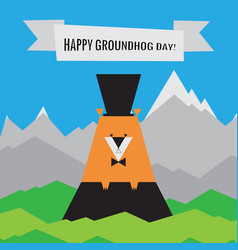 happy groundhog day icon spring design with vector image