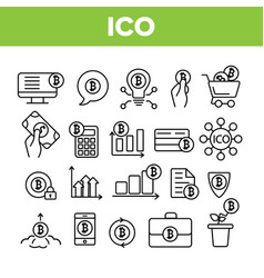 Ico bitcoin thin line icons set vector