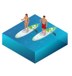 Isometric paddleboard beach men and women on stand vector