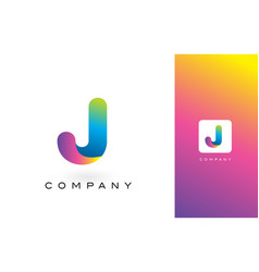 j logo letter with rainbow vibrant beautiful vector image
