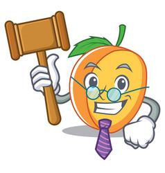 Judge apricot mascot cartoon style vector