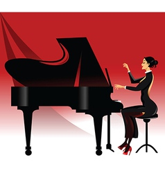Lady playing piano vector image