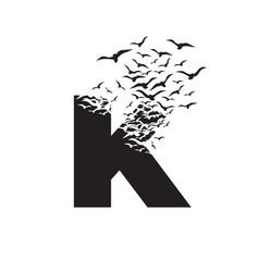 Letter k with effect destruction dispersion vector