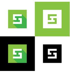 letter s logo icon green square shape design vector image