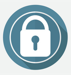 Lock icon on white circle with a long shadow vector