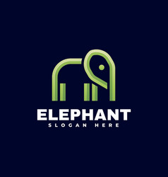 Logo elephant gradient line art style vector