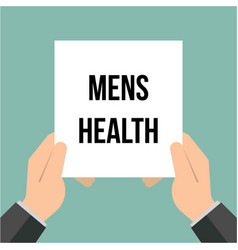 Man showing paper mens health text vector
