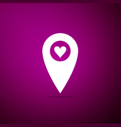 map pointer with heart icon isolated on purple vector image