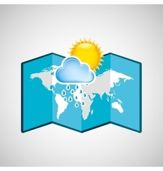 Map with icon rain cloud sun weather graphic vector
