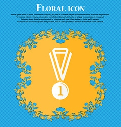 medal for first place icon Floral flat design on a vector image