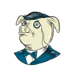Mister pig monocle drawing vector