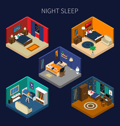 Night sleep isometric compositions set vector