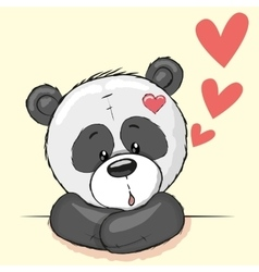 Panda and hearts vector