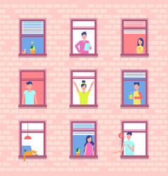 People in window frames inside red brick wall vector