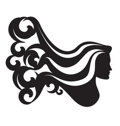 Profile silhouette of a woman head vector