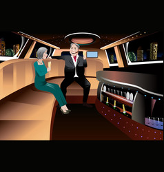 retired couple in a limousine vector image