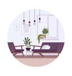 Retro interior with lamps sofa armchair plants vector