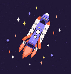 Rocket fly in outer space among stars rocketship vector