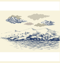 rocky sea shore hand drawing sand dunes vector image
