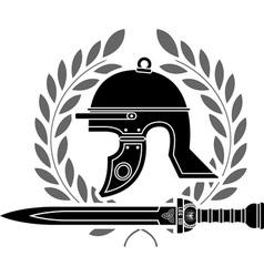 Roman helmet stencil fourth variant vector