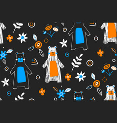seamless childish pattern with cute bears in the vector image