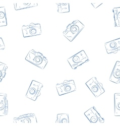 Seamless pattern from ink retro photocameras vector