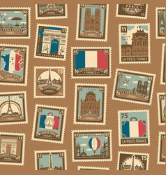 seamless pattern with french postage stamps vector image