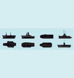 Set aircraft carrier cartoon icon design vector