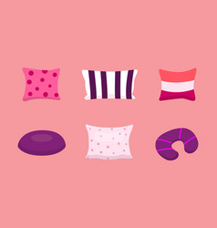 set cool pillows in cartoon vector image