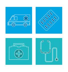 Set equipment medical concept vector