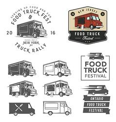 set food truck festival emblems badges and des vector image