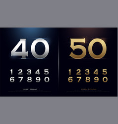 set gold metal number golden and silver vector image