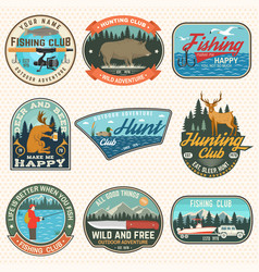 set hunting and fishing club patches vector image