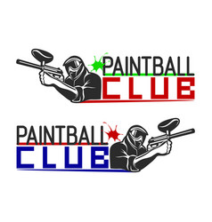 set monochrome paintball logos emblems and vector image