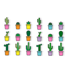 set of exotic plants in pots decorative vector image