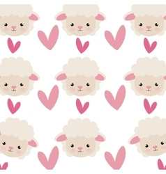 Sheep cartoon and pink hearts background vector